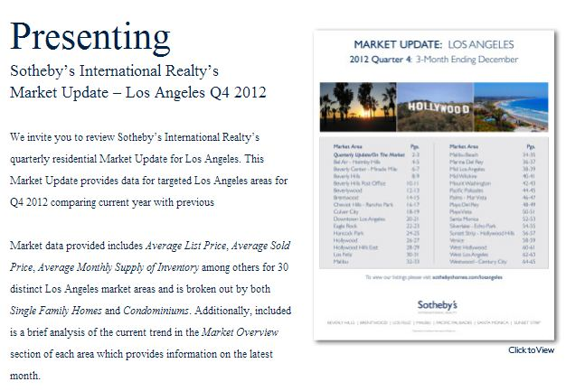 LA Market Update: 3 Mo. Ending 12/12