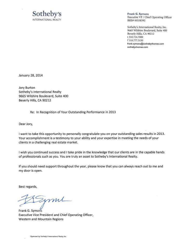 Letter of Recognition from Sotheby's Exec VP and COO, Frank Symons, for Outstanding Performance in 2013