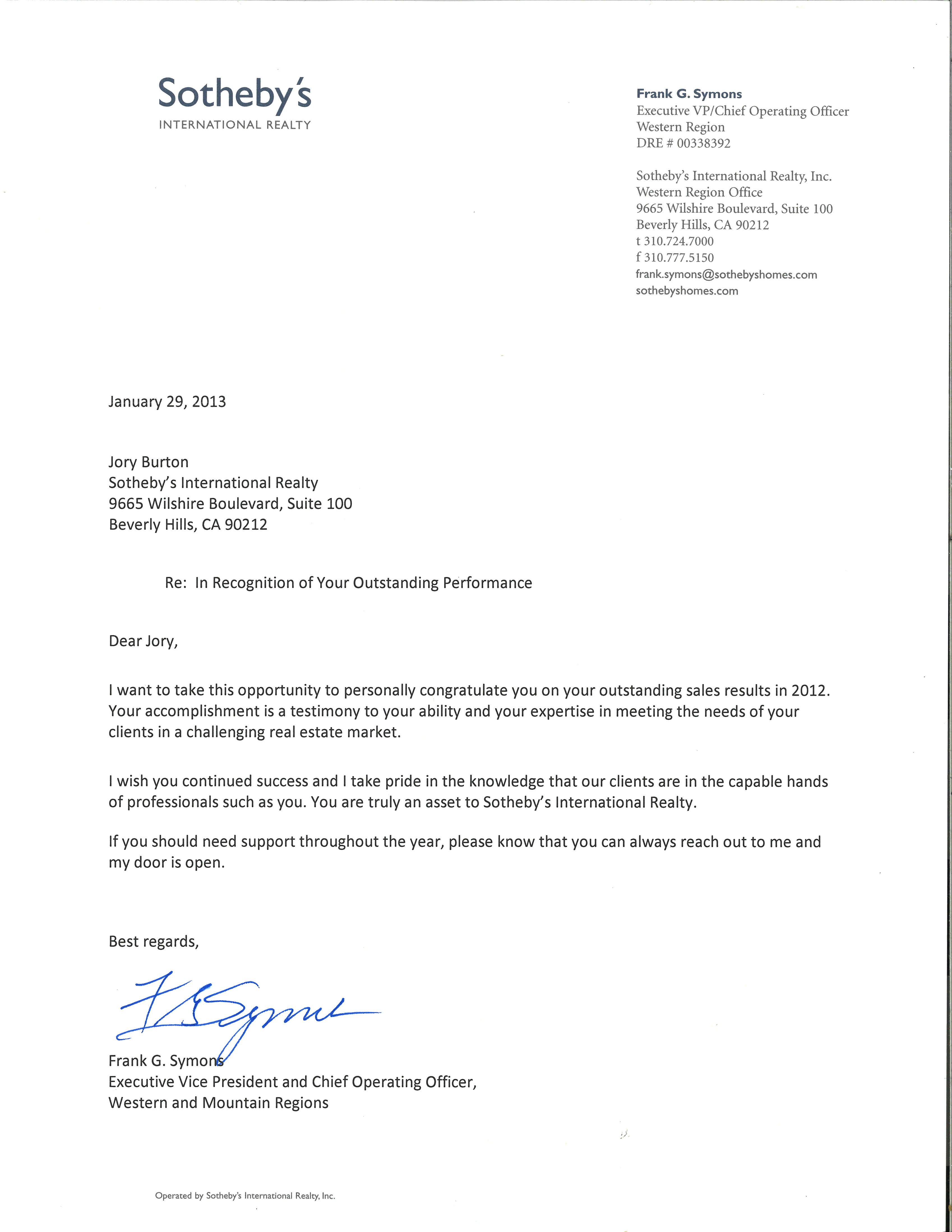 Letter of Recognition from Sotheby's Exec. V.P. and C.O.O. Frank Symons